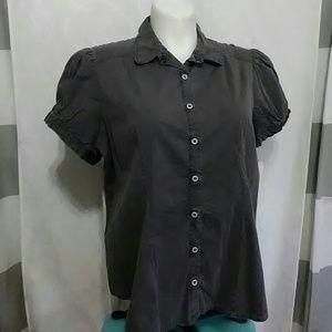 Torrid gray button down shirt plus sz 4 4X